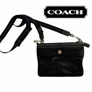 Coach small black satin crossbody, blue lining